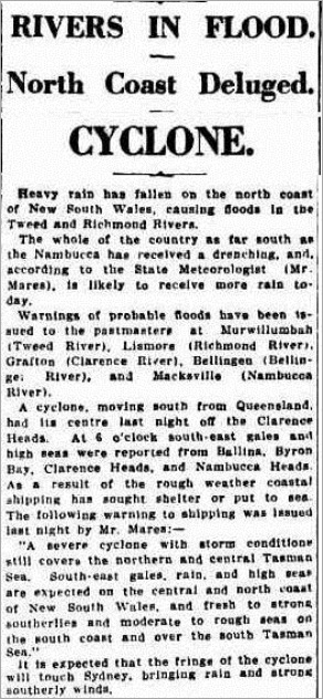 cyCLONE The Sydney Morning Herald (NSW 1842-1954), Saturday 2 March 1929